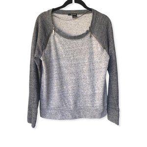 DKNY Gray Colorblocked Zipper Sweatshirt